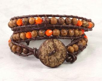 Brown Wrap Bracelet Orange Wrap Bracelet Bohemian Jewelry 3x Wrap Coconut Boho Jewelry Leather Wrap Bracelet Rustic Jewelry Summer Fashion