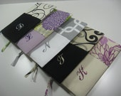 Set of 11 Embroidered Clutches, Personalized,  Pouches, Bridesmaid Clutch, Your Choice, Made To Order