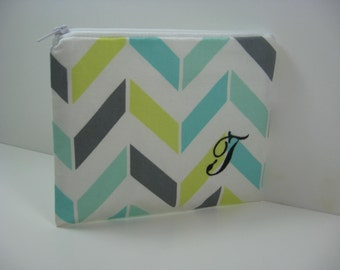 Small Embroidered  Makeup Bag, Personalized Clutch, Monogrammed Zipper Pouch, Made to Order - Aqua and Grey