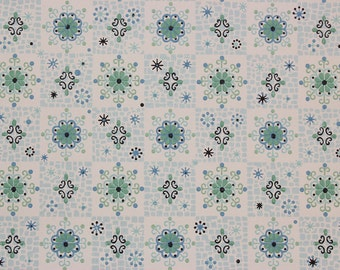 1960's Vintage Wallpaper Blue and Green Geometric on White