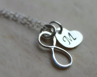 FREE SHIPPING. Handstamped Personalized Necklace. Infinity and Heart Necklace. Sterling Silver. Wedding. Initials. Bridal.