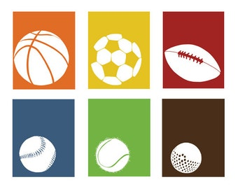 Sports Wall Decor, sports nursery art, boy art, set of 6, 13 x 19 art prints - available in different sizes and colors