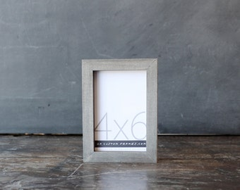 4x6 picture frame with driftwood gray finish part of Drift Collection . 4x6 handmade picture frame .