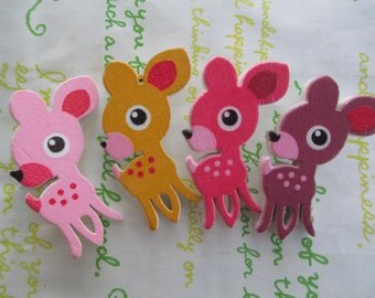 sale Cute Fawn woodden buttons 4pcs 42mm x 21mm at widest