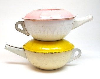 1930's Tin Toy Tea Pots in pink & yellow, Instant Collection of Ohio Art.