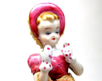 40's figurine, Dainty girl with umbrella, hat & gloves, china doll.