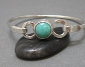 Sterling Silver Hammered Latch Bangle Bracelet with Amazonite Cabochon, Artisan Handmade Sterling Silver Bracelet with Natural Gemstone