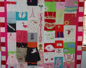 TWIN/FULL size Quilt made from your baby clothes ~ Made to Order!