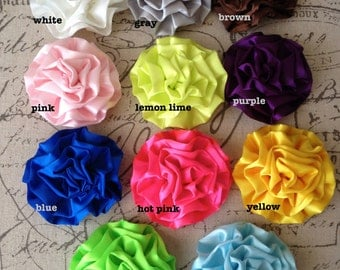 New-FLOWER SATIN ROSETTE--3 inches-Your Choice of 5