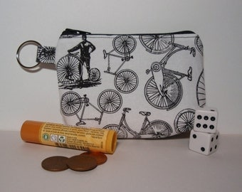 Black and White Bicycle Men Zipper Pouch - Small Coin Purse or Dice Bag