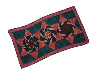 Table Runner One of a Kind Quilted Patchwork Kaleidoscope Star Blocks Free USA Shipping