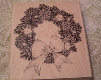 Pine Wreath wood mounted Rubber Stamp from Penny Black