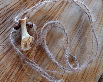 Real whitetail deer bone pendant on hand-braided yarn cord with wood beads and tassels - simple nature jewelry for costumes, holidays, more