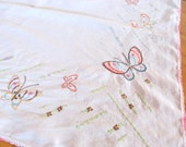 vintage BUTTERFLY EMBROIDERED TABLECLOTH - 34 inches square-