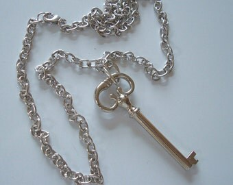 Steampunk, Jewelry, Necklace, Silver Key, Long Silver Link Chain, Nice Weight and Finish, USA, Great Gift