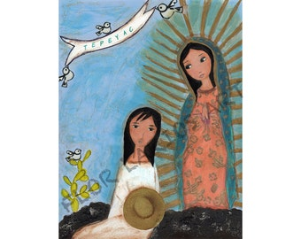 Our Lady of Guadalupe with Juan Diego - Folk Art Print  (6 x 8 inches ) by FLOR LARIOS