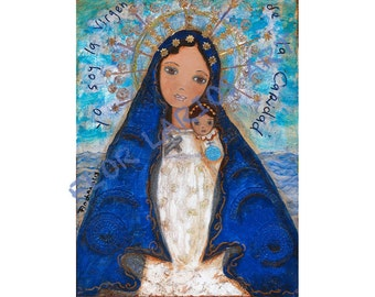Caridad del Cobre - Our Lady of Charity - Reproduction from Painting by FLOR LARIOS (8 x 10 Inches Print)