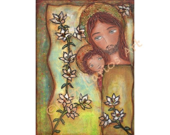 Saint Joseph with Child - Folk Art Print  from Mixed Media Collage Painting (6 x 8 inches PRINT) by FLOR LARIOS