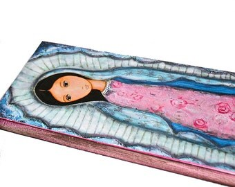 Holy Mary of  Guadalupe -  Giclee print mounted on Wood (3 x 6 inches) Folk Art  by FLOR LARIOS