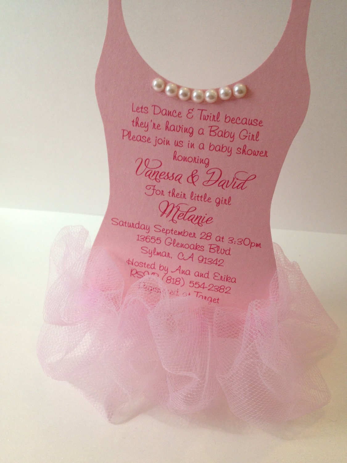 Tutu Baby shower invitation Ballerina baby shower by anaderoux