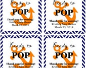 """Orange Anchor """"Ready to Pop!"""" Baby Shower Favor Tags: Digital File"""