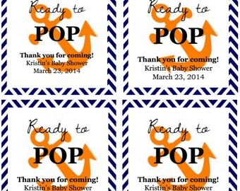 "Orange Anchor ""Ready to Pop!"" Baby Shower Favor Tags: Digital File"