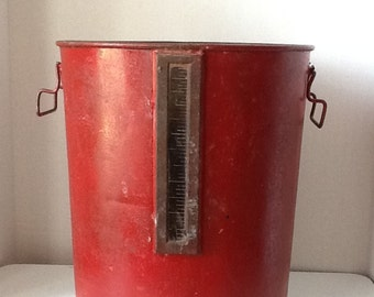 Vintage Industrial Factory Metal Waste Can with Glass  Measurement Gauge