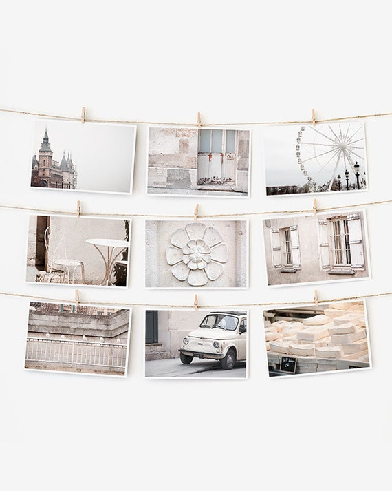 SALE! Paris Postcard Set, White Paris Photography 4x6 Art Print, Apartment Decor, Paris Decor, Black and White Prints Dorm Decor