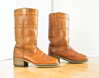Leather Boots, Cowboy Western Campus Boots, Women 9, Men 7.5