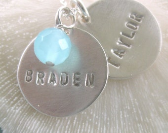 Custom Name Necklace - hand stamped and custom made sterling silver little discs