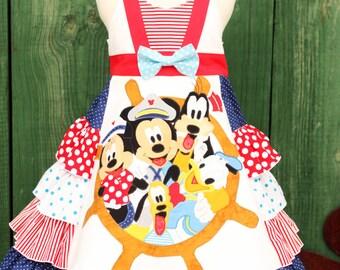 Custom Girls Disney Cruise Mickey and Gang ruffled dress sizes 3 4 5 6 7 8 9 10