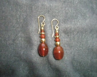 Natural Carnelian Gemstone and 14/20 Gold Filled Beaded Dangle Earrings with 14/20 Gold Filled Earwires