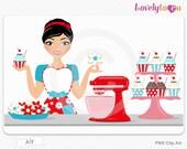 Supreme baker, woman baking, digital PNG clip art (Aly 525)