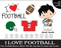 Football Digital Clipart. Instant Download. Cute Little Players, Uniforms and Numbers. Personal and Limited Commercial Use.