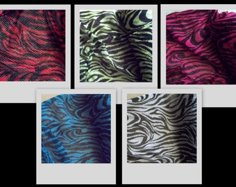 ZEBRA Pink Black/White Green Red Blue Stretch Knit Fishnet Fabric BTY ~ 4 colors