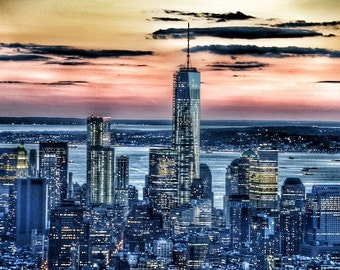 New York - Manhattan Landscape - Modern Fine Art Urban City Photography office hotel home wall deco nightsky lights glow sunset landmark