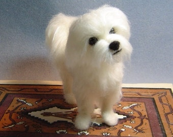 Custom needle felted Maltese dog soft sculpture pet portrait animals made to order