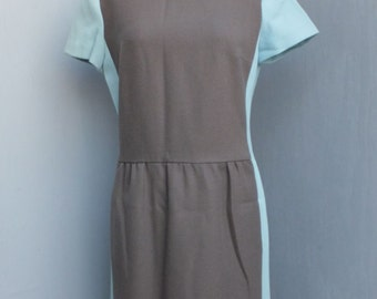 1960s/70s Dress by Jerry Silverman, Brown and Blue Dress,  Colorblocking
