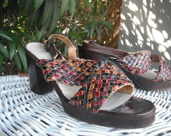 1970s BOHO Mario Valentino Heels, Chunky Platform Heels, Woven Leather Sandals by Mario Valentino for I. Magnin