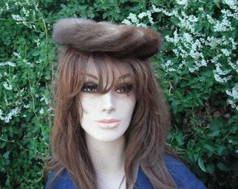 Vintage Mink Hat, ROOS ATKINS, Fur Hat,  Mink Pill Box Hat, Church Hat, Formal Hat, Evening Wear