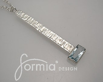 Contemporary hammered sterling silver pendant with rectangular aquamarine