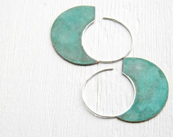 Big Urban Hoops, Verdigris - XL handmade copper sterling silver earrings, blue green, made in Italy