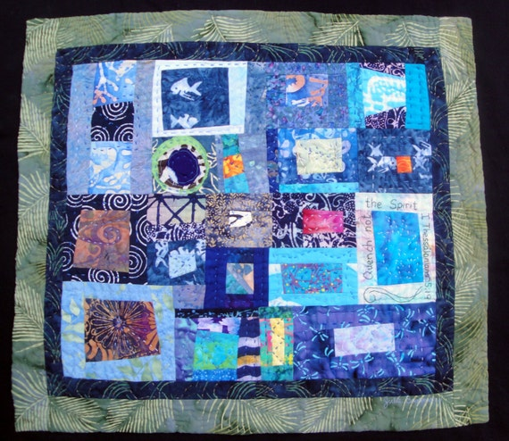 Art Quilt Fiber Wall Hanging | Quench Not The Spirit