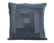"Modern Quilt Pillow / Recycled Denim Pillow / Stone Wash Denim Pillow / Decorative Throw Pillow / Size  22"" x 22"""