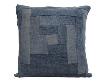 "Modern Quilt Pillow / Recycled Denim Pillow / Stone Wash Denim Pillow / Decorative Throw Pillow / Size  22"" x 22"""