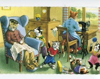 Mainzer postcard, Mainzer cats, anthropomorphic, Naughty kittens smoking hookah,  Mainzer dressed cats Postcard no. 4861
