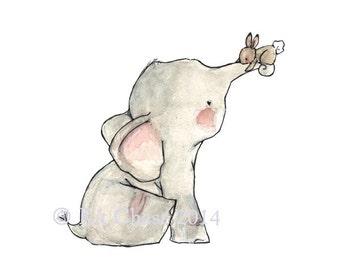 Baby Art --- One More Bunny Hug -- Art Print