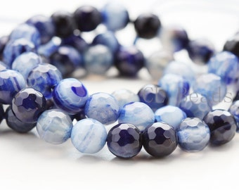 One Strand (15 Inches) Dark Blue Agate Stone - Round 6mm( BS170)*
