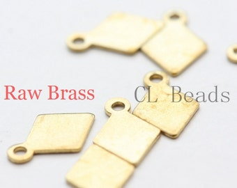 300 Pieces Raw Brass Diamond Shape Charm - 8.5x5.5mm (1855C-U-100)