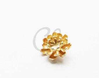 One Piece Premium Matte Gold Plated Brass Base Charms-Flower 17mm (1171C-U-193)